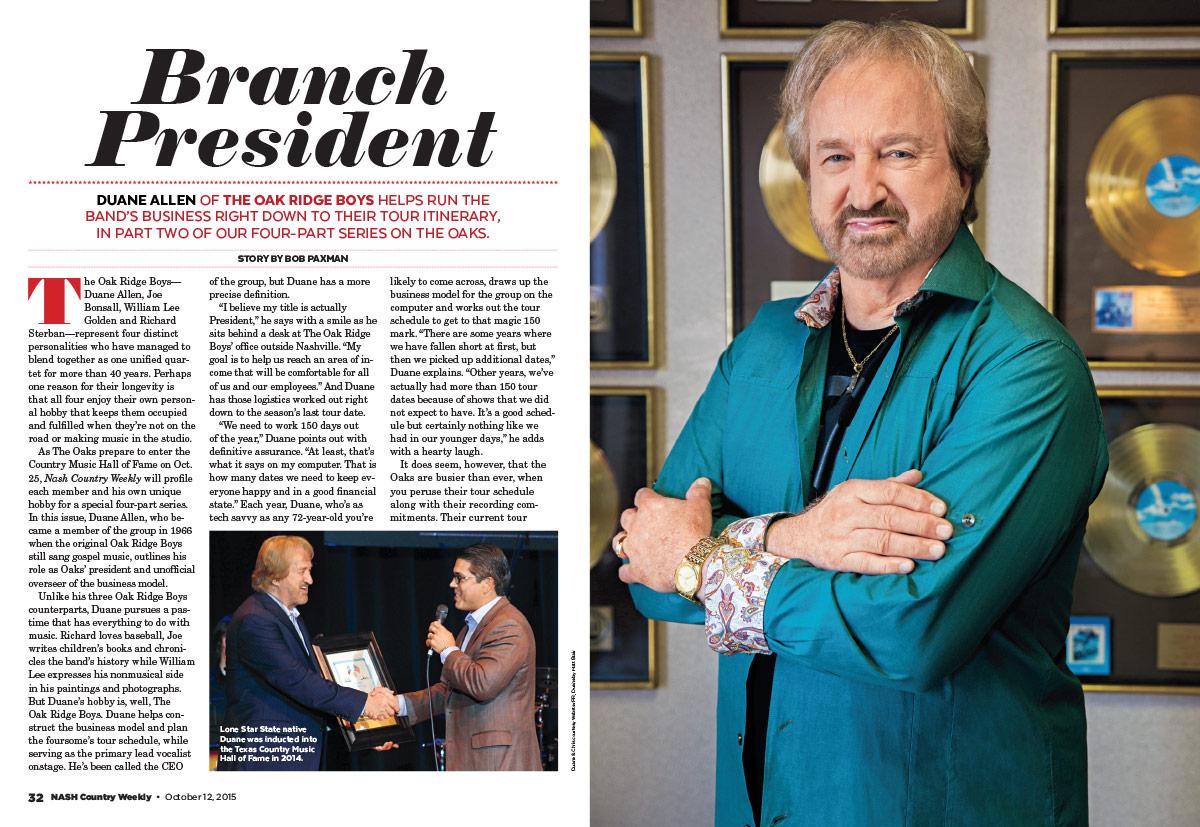 Duane Allen of the Oak Ridge Boys: Branch President