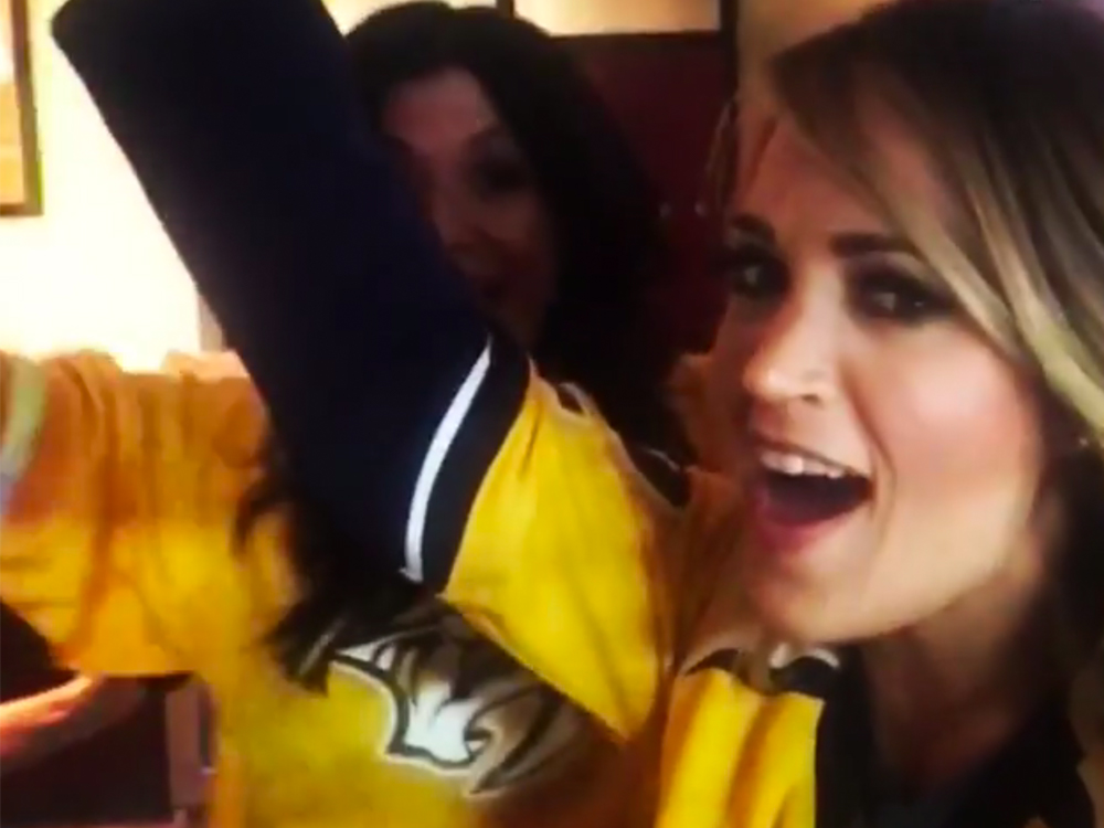 "Watch Carrie Underwood and Her Crew Sing DJ Khaled's ""All I Do Is Win"" After Predators Victory"