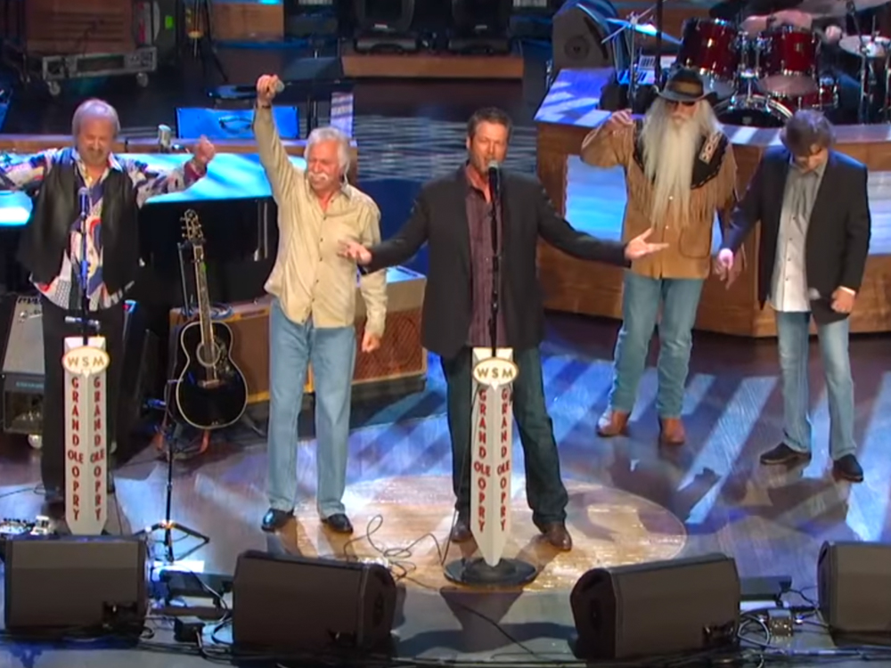 "Watch Blake Shelton Team With the Oak Ridge Boys to Sing ""Elvira"" at the Grand Ole Opry"