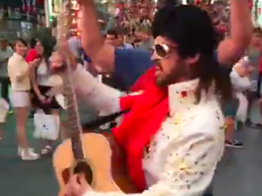"Watch Burnin' Vernon (AKA Billy Ray Cyrus) Visit Times Square With the Naked Cowboy to Promote CMT's ""Still the King"""