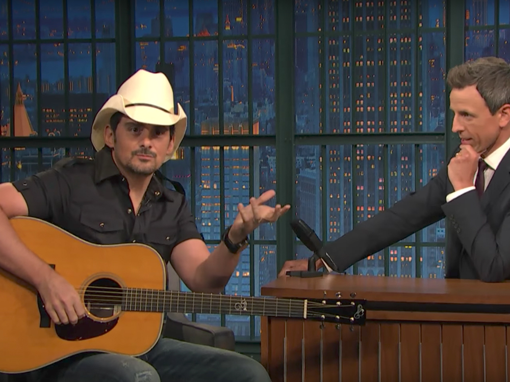 "Watch Brad Paisley Put a Comedic Twist on ""She's Everything"" & Perform ""Last Time for Everything"" on ""Seth Meyers"""