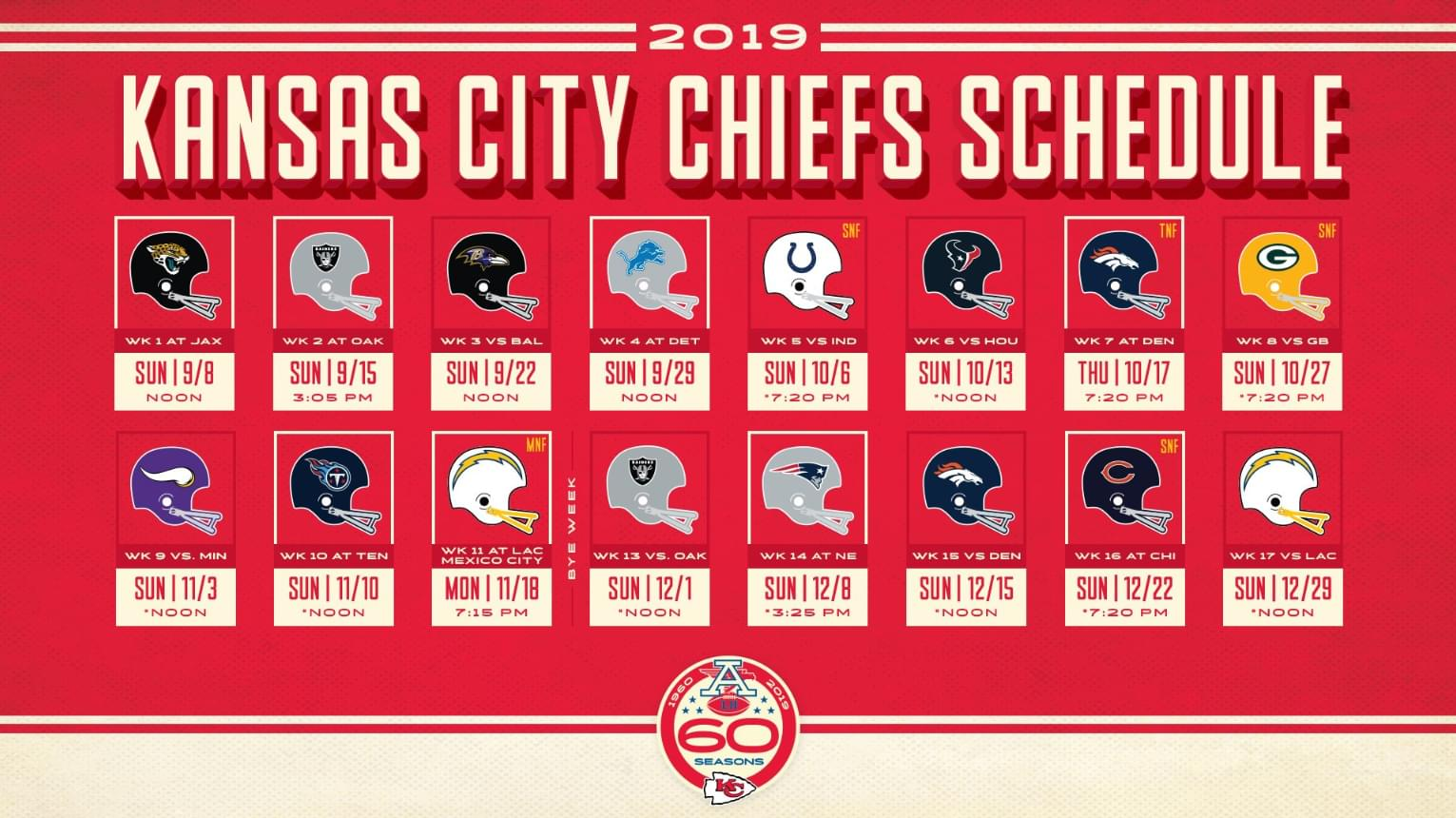 It's just an image of Vibrant Kc Chiefs Schedule 2020 Printable