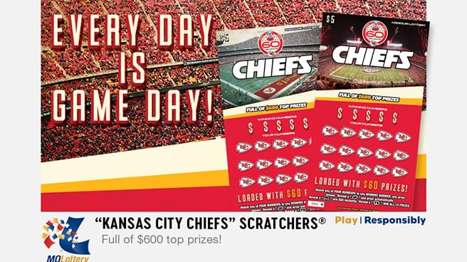 Kansas City Chiefs Scratchers ticket from the Missouri Lottery