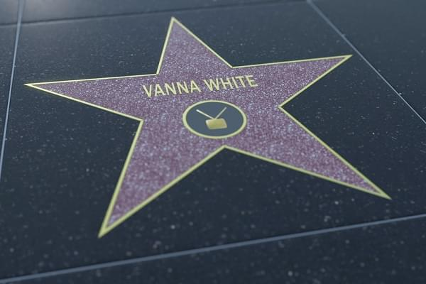 Hollywood Walk of Fame star with VANNA WHITE inscription. Editorial 3D