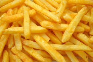 Closeup of golden french fries