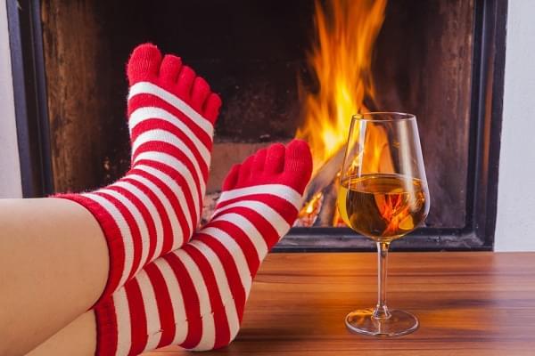 toe socks and wine