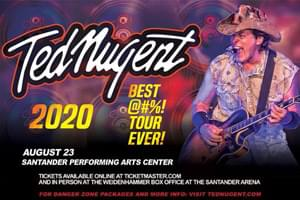 RESCHEDULED: Ted Nugent to the Santander Performing Arts Center, NOW August 22, 2021