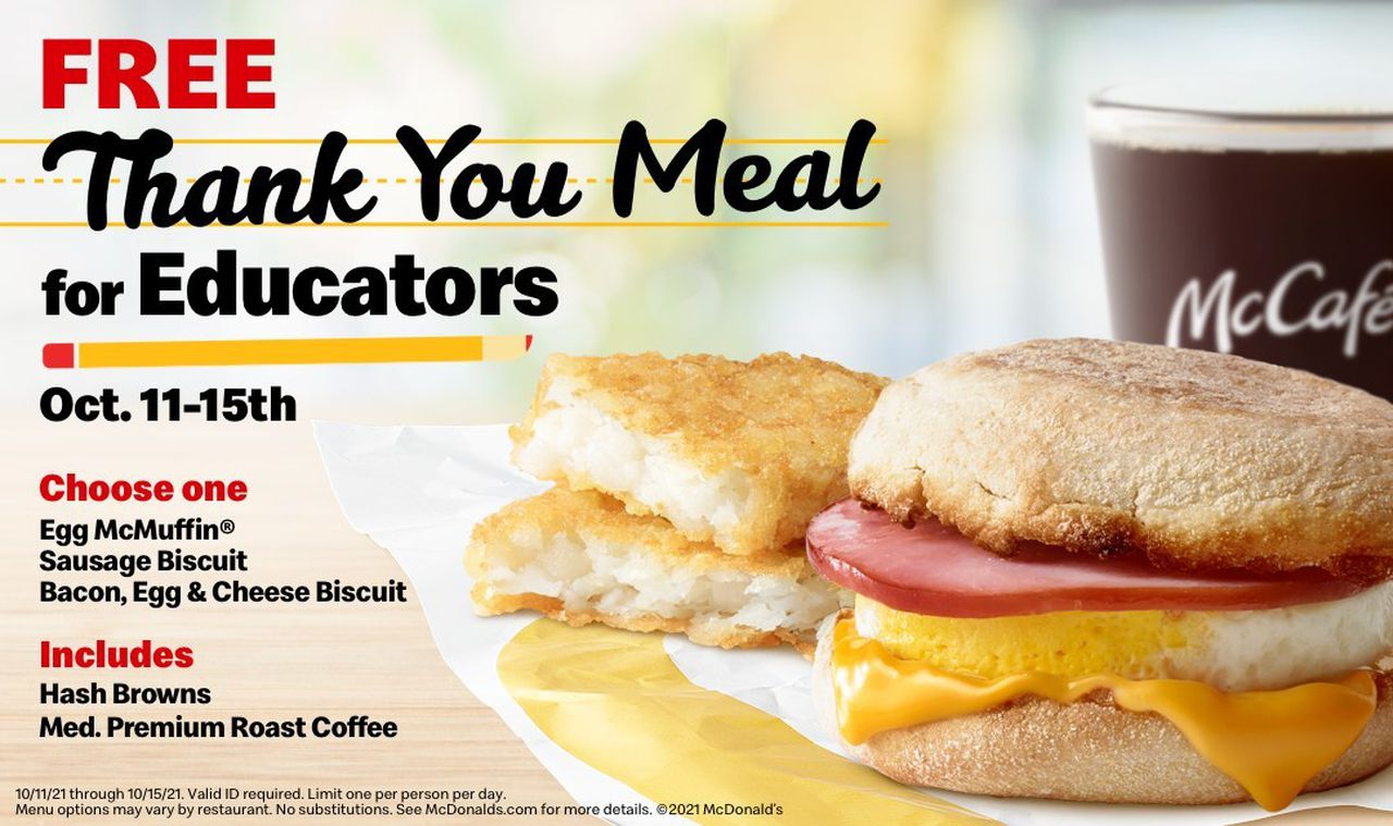 McDonald's will give teachers, school staff free breakfast every day next week
