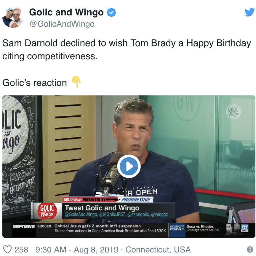 Golics Reaction To No Happy B-Day To Tom Brady