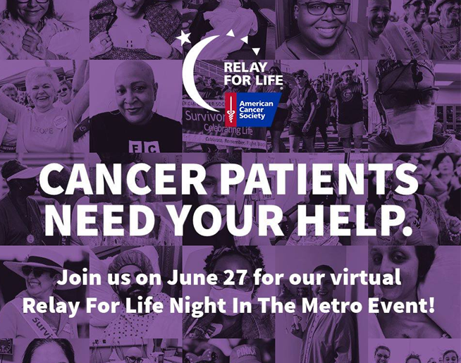 Virtual Relay For Life Night in the Metro – June 27