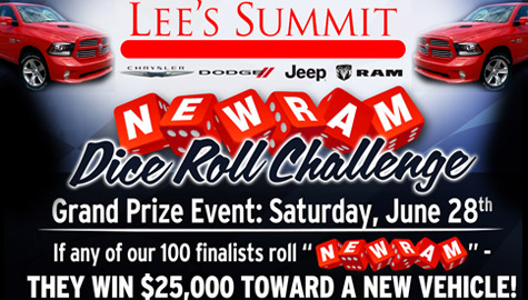 DICE ROLL CHALLENGE – Register today at Lee's Summit Chrysler Dodge Jeep Ram