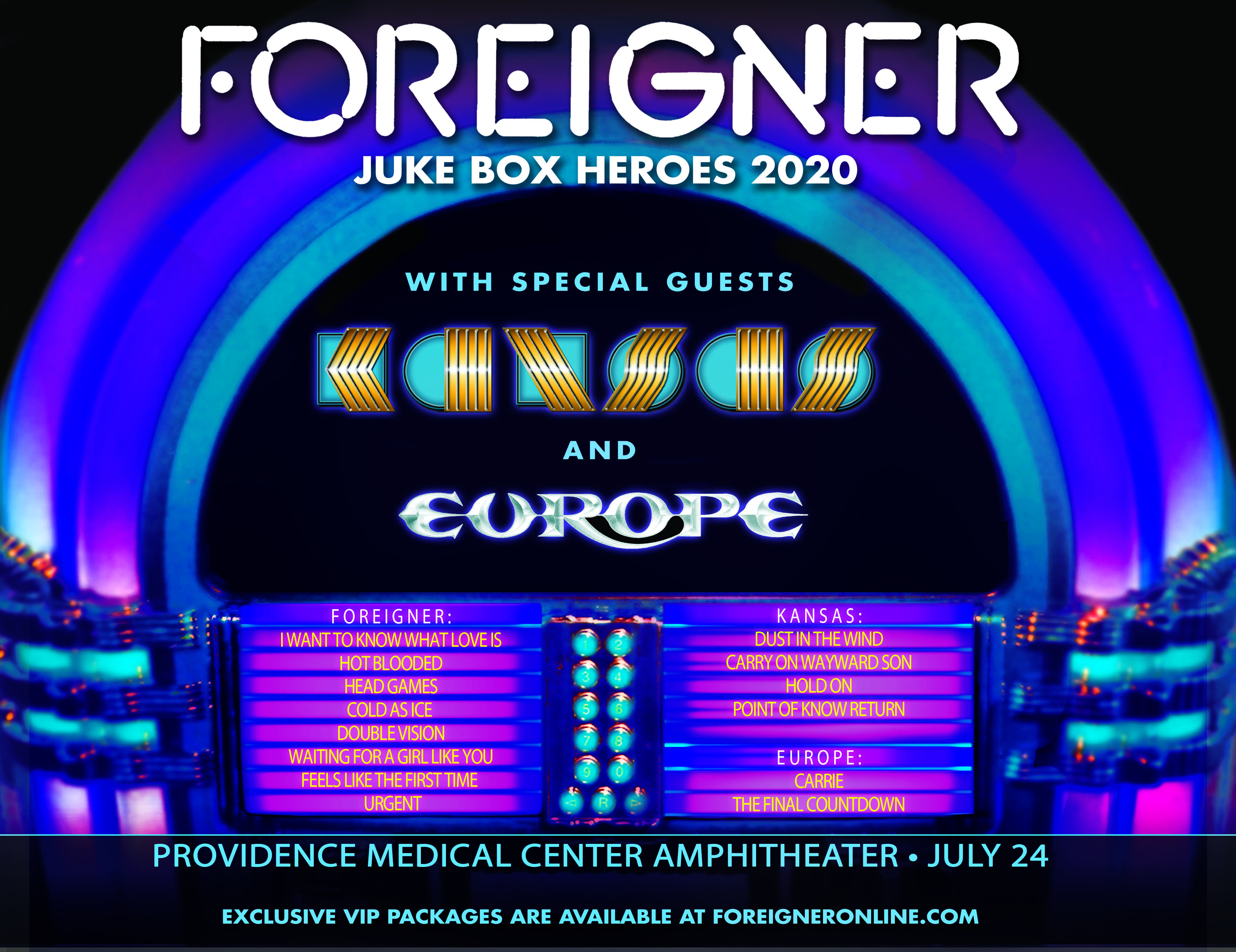 CANCELED: Foreigner with Kansas & Europe on July 24 at PMCA!