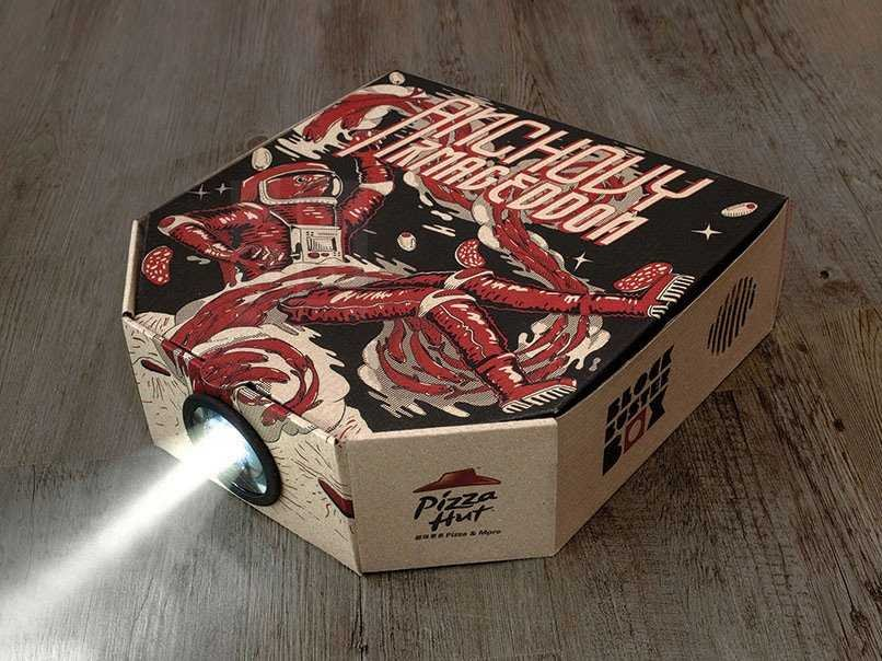 A pizza box that doubles as a movie projector. Sweet!