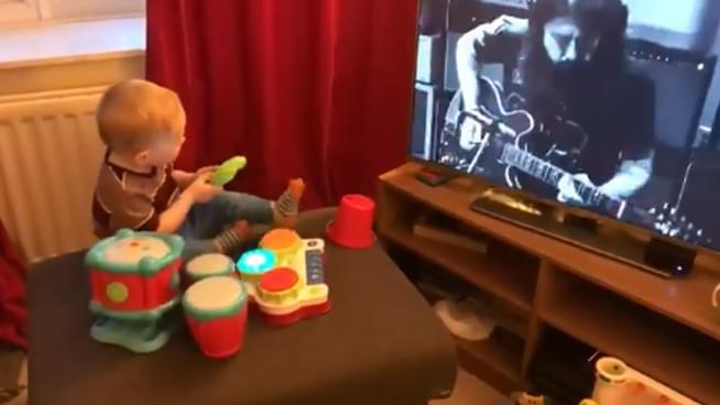 Baby impresses Dave Grohl with passion for drums