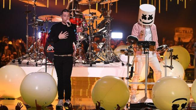 Dan Smith of Bastille and Marshmello perform live onstage