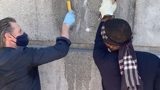 Newsom Skips Daily Presser to Scrub Away Graffiti with Protesters