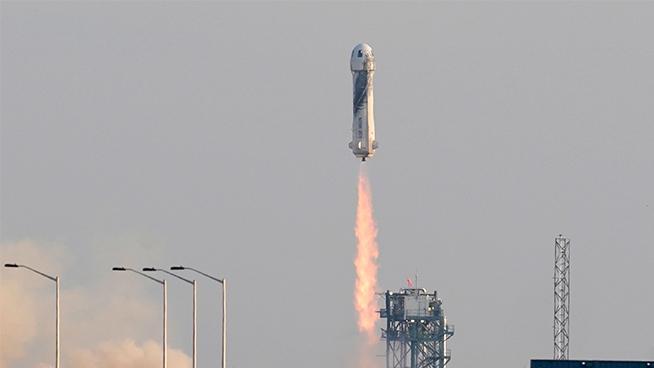 Blue Origin rockets Jeff Bezos to space