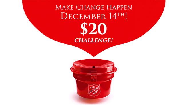 December 14: The Salvation Army $20 Red Kettle Challenge