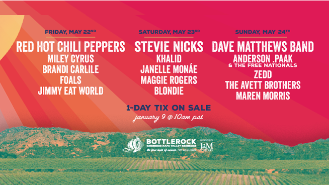BottleRock Napa Valley announces single day line up to sold out festival