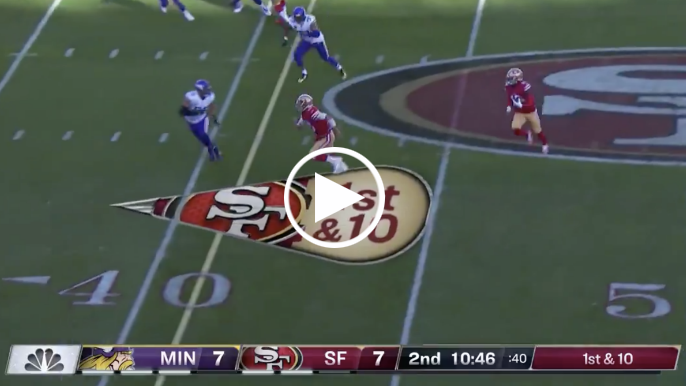 Jimmy Garoppolo pancakes Anthony Barr while lead blocking on reverse