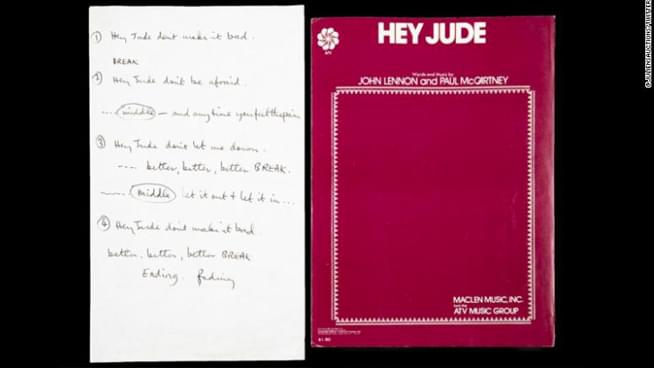 Paul McCartney's handwritten 'Hey Jude' lyrics sell for $910,000