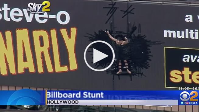 Diaper Clad Steve-O Duct Tapes Himself to LA Billboard
