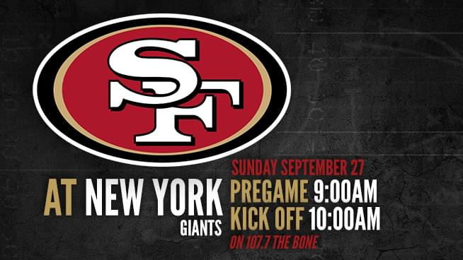 Niners @ New York Giants: Sunday, September 27