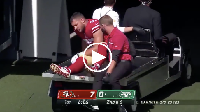 Nick Bosa, Solomon Thomas carted off field in first quarter with leg injuries