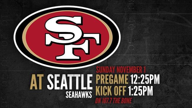 Niners at Seahawks: Sunday, November 1st