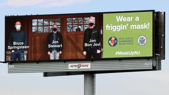"""Bruce Springsteen, Jon Stewart and Jon Bon Jovi say """"Wear A Friggin' Mask"""""""