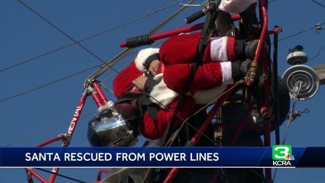 Santa Claus Rescued after getting Tangled up in Sacramento Power Lines
