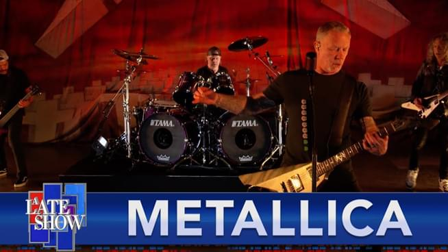 """Metallica Celebrate 'Master of Puppets' Anniversary by Playing """"Battery"""" on Colbert"""