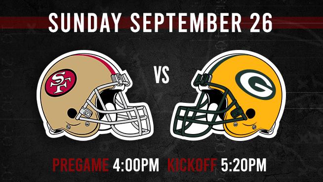 Niners vs. Packers: Sunday, September 26
