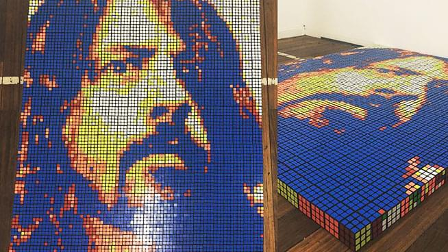 Dave Grohl's Portrait Created with 725 Rubik's Cubes