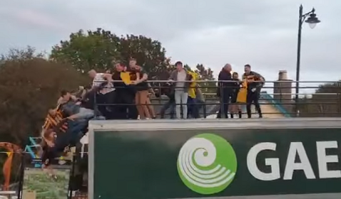 Gaelic Rugby Fans Fall Off Parade Bus