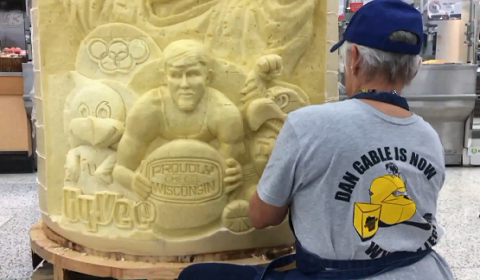 Iowa Wrestling Icon Carved Out Of Cheese