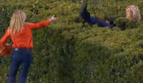 Women Hilariously Get Stuck In Hedges Trying To Rush Field