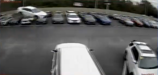 car flies in air