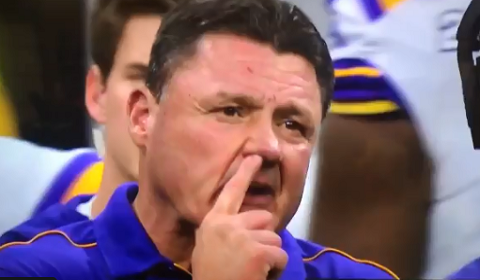 LSU Head Coach Caught Eating Boogers On Camera Before National Championship Win