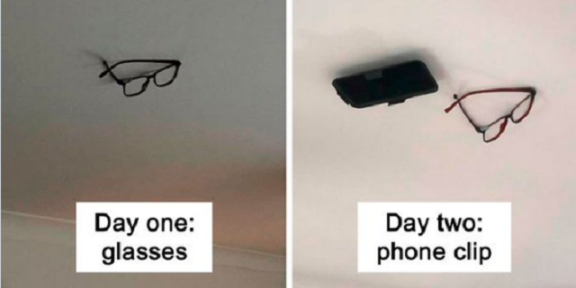 Son Pranks Dad by Sticking His Stuff to the Ceiling