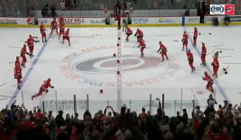 Carolina Hurricanes Play Dodgeball After Beating Winnipeg Jets