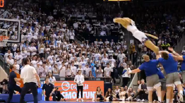 BYU Mascot Slam Dunks after Being Launched 22 ft in the Air