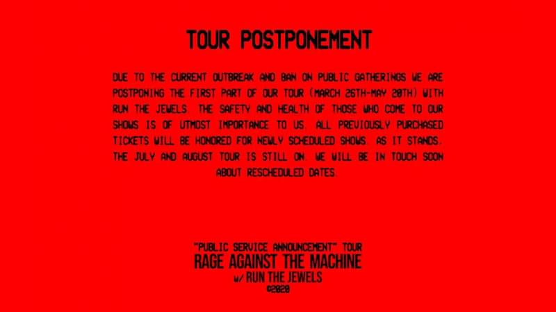 Rage Against The Machine Postpone Tour