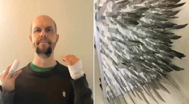 Knife Video Artist Falls into Wall of Knives
