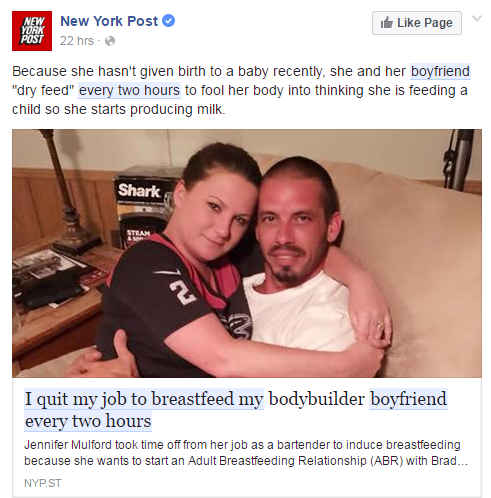 I Quit My Job To Breastfeed My Boyfriend Every Two Hours