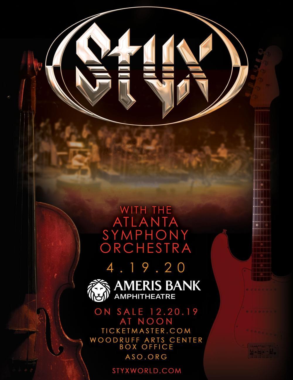 APRIL 19 – Styx – With The Atlanta Symphony Orchestra