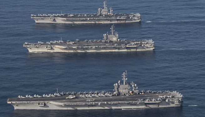 U.S. Puts On Three-Carrier Show Of Force For First Time In A Decade