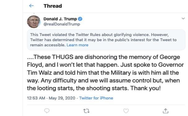 Twitter Adds 'Glorifying Violence' Warning To Trump Tweet