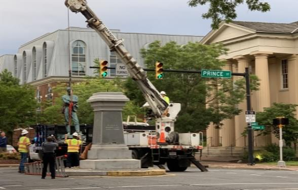 Confederate Statue With Its Back To The North Was Removed In Historic Old Town Alexandria