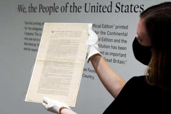 Sotheby's puts rare U.S. Constitution copy for auction